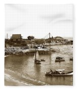 Japanese Tea Garden Glass Bottom Boats At Lovers Point Pacific Grove California Circa 1907 Fleece Blanket