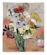 Japanese Vase With Roses And Anemones Fleece Blanket