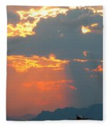 Japanese Zero Fighter Plane Taking Off At Sunset Fleece Blanket