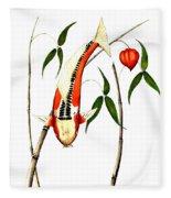 Japnese Koi Shuisui Chinese Lantern Painting Fleece Blanket