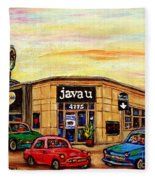 Java U Cafe Jean Talon Car Wash Coffee Shop Depanneur Montreal Art Sale Cspandau                     Fleece Blanket
