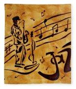 Jazz Coffee Painting Fleece Blanket