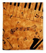 Jazz Music Coffee Painting Fleece Blanket