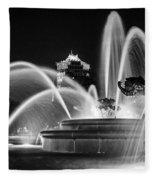 J.c. Nichols Memorial Fountain - Night Bw Fleece Blanket