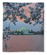 Jefferson Memorial Cherry Blossoms Fleece Blanket