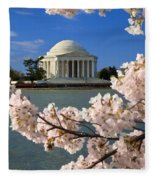 Jefferson Memorial Cherry Trees Fleece Blanket
