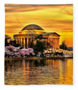 Jefferson Memorial Sunset Fleece Blanket