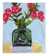 Jeff's Vase And Rodger's Roses Fleece Blanket