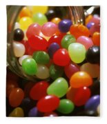 Jelly Beans Spilling Out Of Glass Jar Fleece Blanket