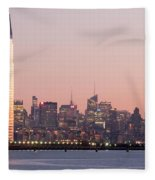 Jersey City And New York City  With Manhattan Skyline Over Hudso Fleece Blanket