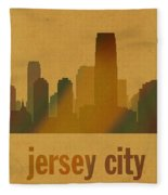 Jersey City New Jersey City Skyline Watercolor On Parchment Fleece Blanket