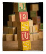 Jesus - Alphabet Blocks Fleece Blanket