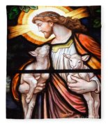 Jesus And Lambs Fleece Blanket