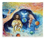Jesus And Mary Cloud Colored Christ Come Fleece Blanket