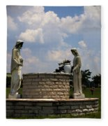 Jesus And The Woman At The Well Cemetery Statues Fleece Blanket