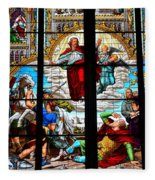 Jesus Angels Stained Glass Painting Inside Cologne Cathedral Germany Fleece Blanket