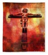 Jesus Christ On The Cross Fleece Blanket