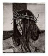 Jesus Christ Portrait Fleece Blanket