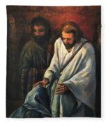 Jesus Healing Beggar Fleece Blanket