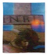 Jesus On The Cross Mosaic Fleece Blanket