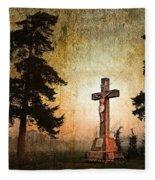 Jesus On The Cross Fleece Blanket