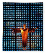 Jesus Sculpture And Blue Glass Background Fleece Blanket