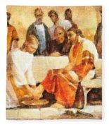 Jesus Washing Apostle's Feet Fleece Blanket