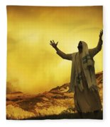 Jesus With Arms Stretched Towards Heaven Fleece Blanket