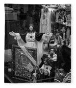 Jesus With Arms Wide Open Religious Figurines In A Shop Window In Toronto Fleece Blanket