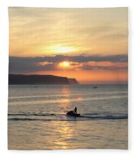 Jet Bike Sunset Fleece Blanket