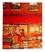 Jewish Culture In Montreal Paintings Of Warshaw's Fruit Store On St.lawrence Street Scene Art  Fleece Blanket