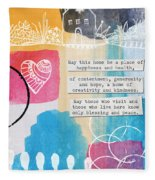 Jewish Home Blessing -greeting Cards And Prints Fleece Blanket