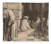 Jews In The Synagogue Fleece Blanket