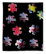 Jigsaw Puzzle Flag Pieces Fleece Blanket