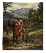 Jim Bridger - Mountain Man - Frontiersman - Trapper - Wyoming Landscape Fleece Blanket