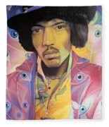 Jimi Hendrix Eyes Fleece Blanket