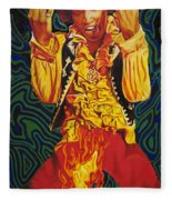 Jimi Hendrix Fire Fleece Blanket