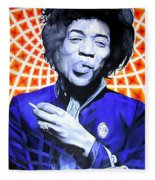 Jimi Hendrix Orange And Blue Fleece Blanket