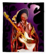 Jimi Hendrix Variations In Purple And Black Fleece Blanket