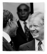 Jimmy Carter And Anwar Sadat 1980 Fleece Blanket