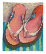Pink Flip Flops Fleece Blanket