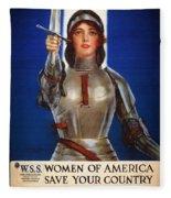 Joan Of Arc War Stamps Poster 1918 Fleece Blanket