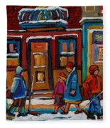 Joe Beef Restaurant And Boys With Hockey Sticks Fleece Blanket