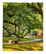 Jogging In City Park Fleece Blanket