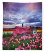 John Deere Pink Fleece Blanket