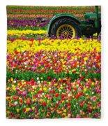 John Deere Tulips Fleece Blanket