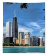 John Hancock Chicago Skyline Panorama Fleece Blanket