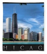 John Hancock Chicago Skyline Panorama Poster Fleece Blanket