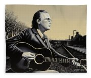 John Hiatt Painting Fleece Blanket