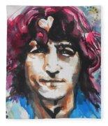John Lennon..up Close Fleece Blanket
